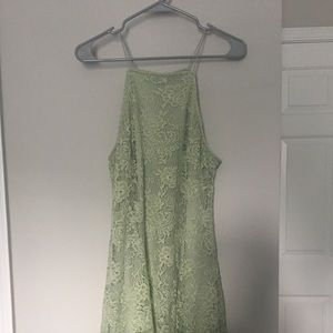 A-Line Mint Green Lace Dress